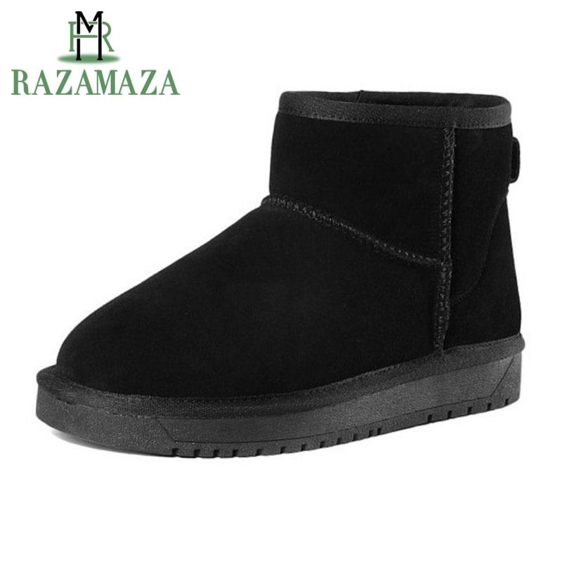 RAZAMAZA Women Real Leather Half Short Snow Boots Thick Fur Warm Shoes Flats Boots Cold Winter Botas Women Footwears Size 34-39 браслет aquamarine браслет
