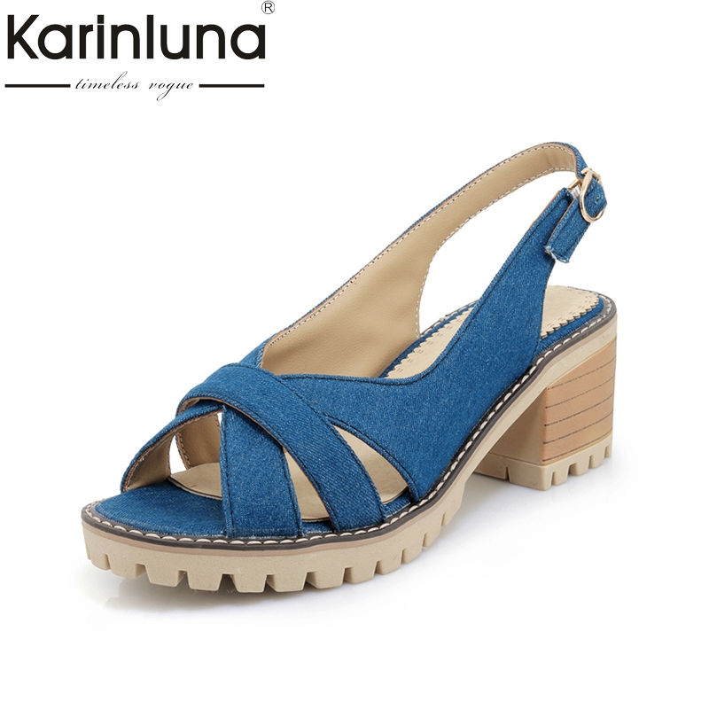 KARINLUNA BIG size 34-43 Leisure high heels Women Shoes Summer comfortable Sandals 2018 brand new black Woman Shoes karinluna best quality crystals brand big size 34 43 sexy high heels summer sandals shoes women party woman shoes