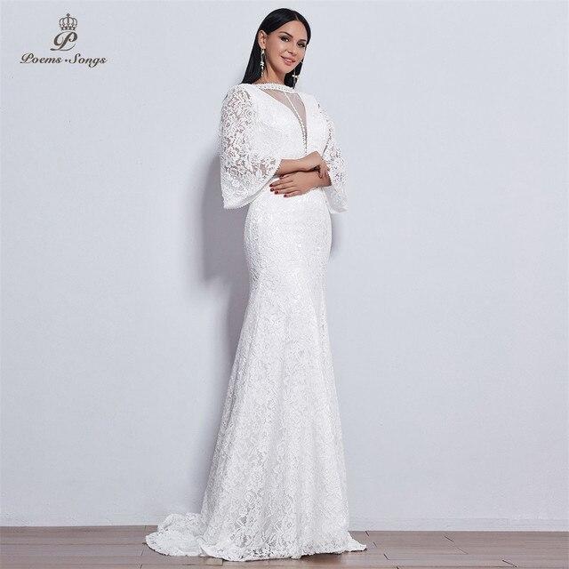 Poems Songs 2019 new elegant Flare sleeve style lace wedding dress for wedding Vestido de noiva Mermaid  ivory / white color 1