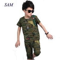 Children's active clothing sets big boys summer 2019 Camo t shirt + half pants 2 pcs suit cotton sportswear clothes for kids