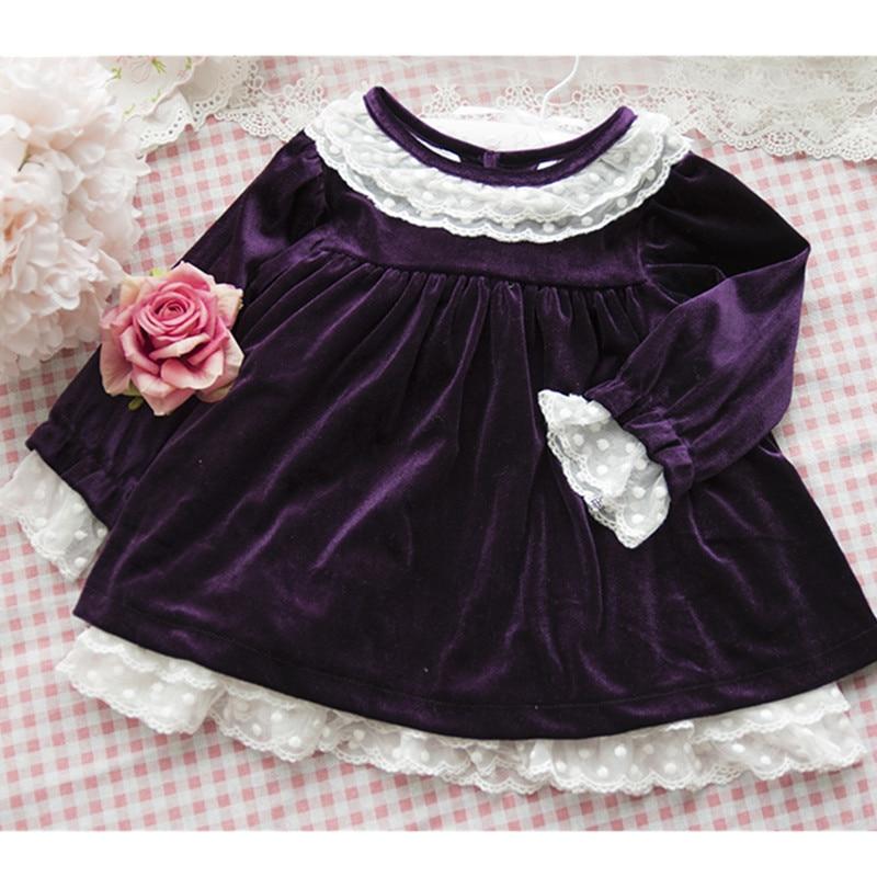 Autumn baby dress Velvet fabric lace girls long sleeve kids dress trumpet sleeve flounce hem velvet dress