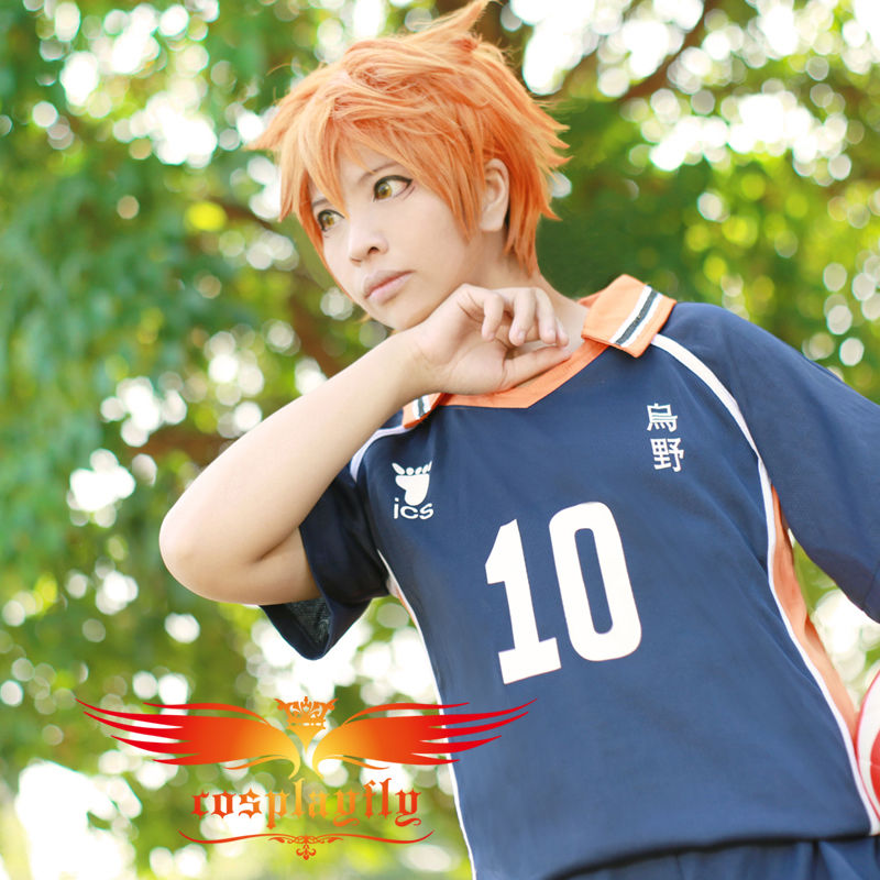(Number can be changed) Anime Haikyu Karasuno High School Shoyo Hinata No 10 Cosplay Adult Men Outfit Jersey Costume (W0336)