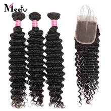 Meetu Hair Indian Human Hair Bundles With Closure Non Remy Hair Lace Closure With 3 Bundles Deep Wave Bundles With Closure