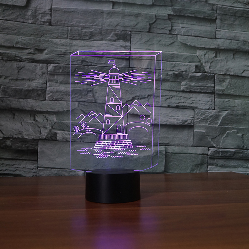 3D Night Light Acrylic 7 Colors Change LED Lighthouse Desk Lamp Corridor Toilet Bedside decor Baby Sleep Lighting Creative Gifts