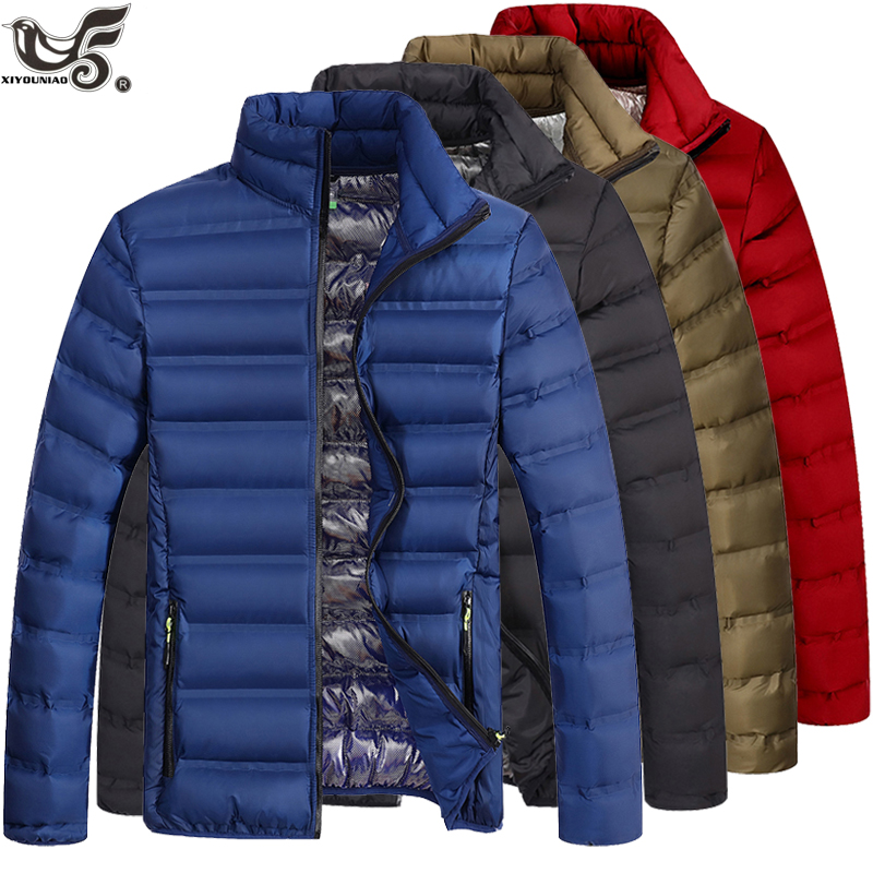 Brand Spring Autumn Casual Parkas Stand Collar Coat Male Warm Fashion Winter Cotton-capped Down Jacket Men Clothing(China)