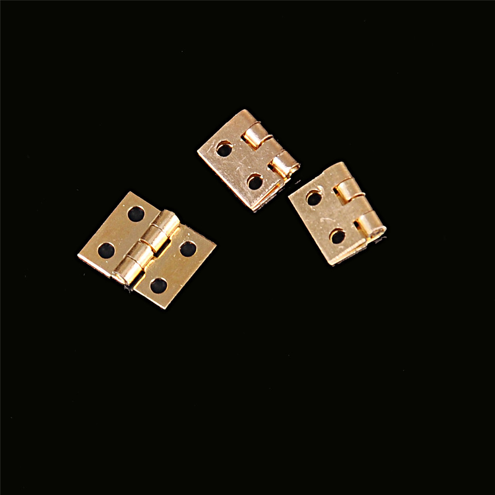 20pcs 8mm*10mm Cabinet Door Hinges Brass Plated Mini Hinge Small Decorative Jewelry Wooden Box Furniture Accessories