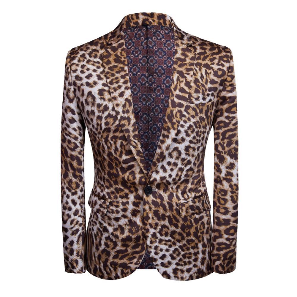 YUSHU Leopard Designer Men Blazer Casual Slim Fit Male Suit Jacket Prom Dress Blazers Masculino Abiti Uomo YS0050