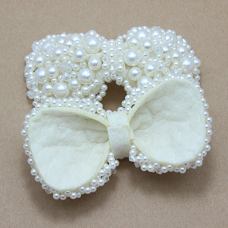 Pearl Bows DIY handmade bows with beads and rhinestone for girl headband  shoes dress hair accessories-in Hair Accessories from Mother   Kids on ... 3b4ffdec011