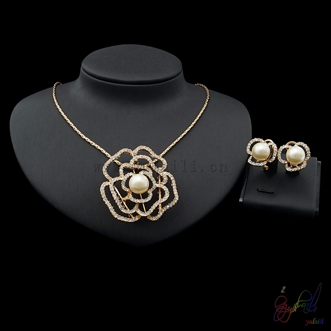 Yulaili Free Shipping 2017 Hot Sell Crystal Flower Necklace Earrings Ladies Two Jewelry SetsYulaili Free Shipping 2017 Hot Sell Crystal Flower Necklace Earrings Ladies Two Jewelry Sets