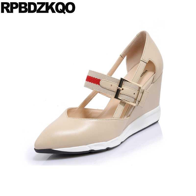 cd9d85f2b4c4 Platform Wedge Shoes Genuine Leather High Heels Strap Designer Beige Women  Ladies Size 4 34 2018