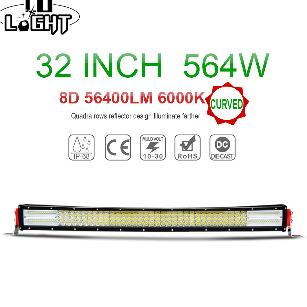 COLIGHT 8D LED Light Bar 32 Inch 4 Row 564W Curved Led Bar Auto LED Work
