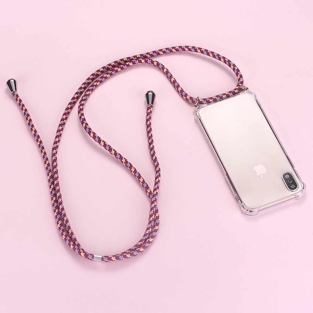 حزام الحبل سلسلة الهاتف الشريط قلادة الحبل حقيبة هاتف محمول للحمل لشنق لسامسونج S8 S9 S10 نوت 9 A50 A70 A7 A8 A9