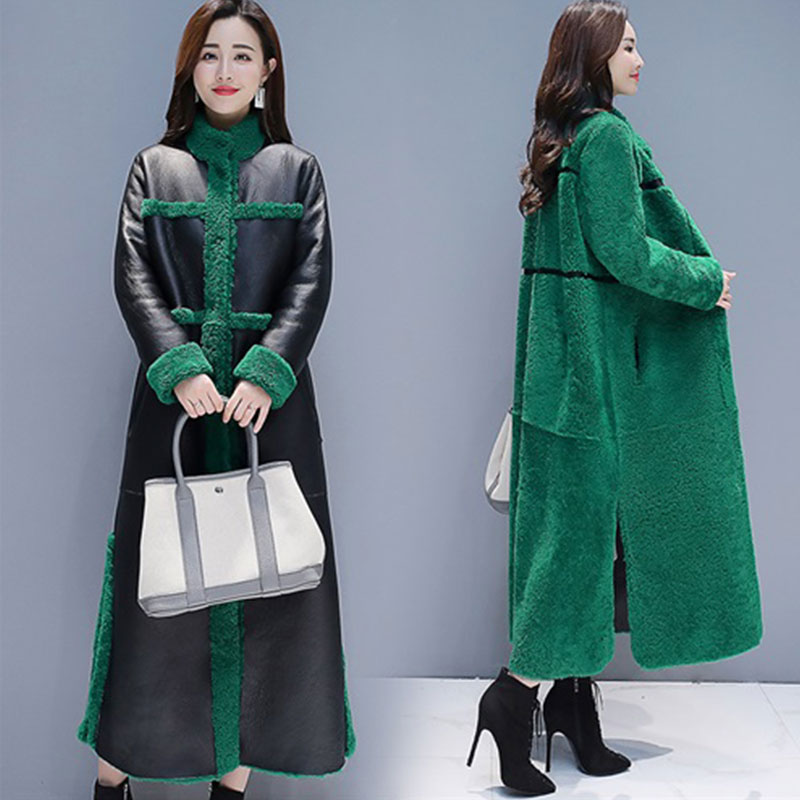 Sheep Shearling Faux fur Coats 2019 X Long Warm Women s Fur Coat Female Plus size