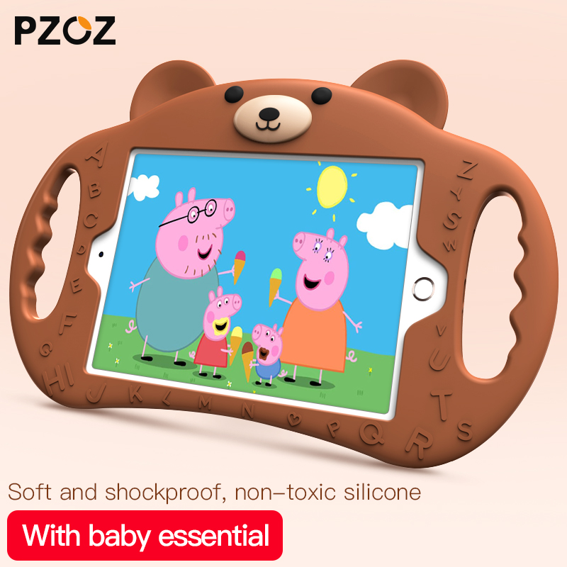 PZOZ silicone Lovely case For ipad 2018 2017 air pro mini 2 3 4 Shockproof Stand Kids Friendly Non-toxic suitable children case