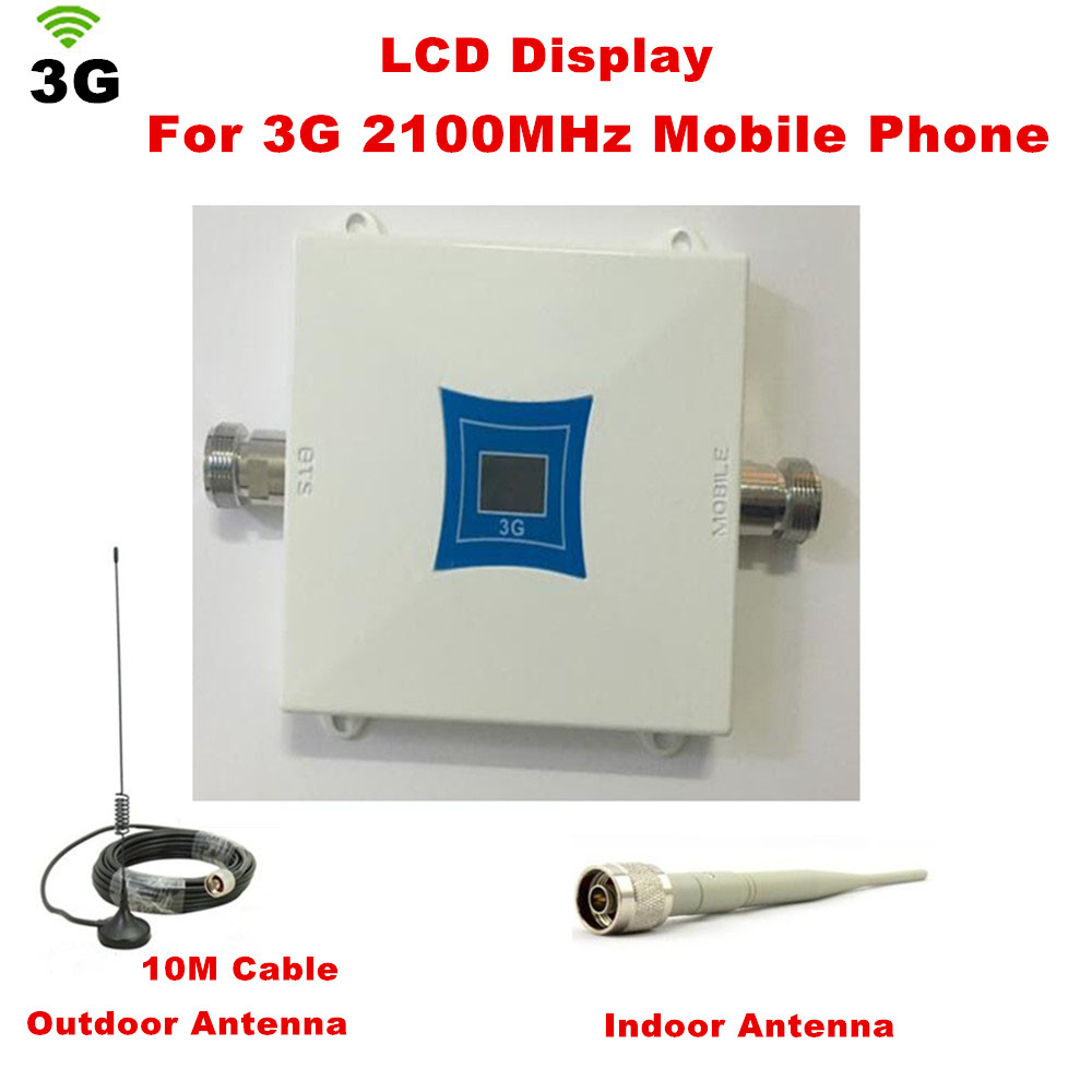 W-CDMA 2100Mhz Cell Phone Signal Amplifier 3G Repeater Mobile Phone 3G Signal Booster WCDMA Signal Repeater + 10m Cable +AntennaW-CDMA 2100Mhz Cell Phone Signal Amplifier 3G Repeater Mobile Phone 3G Signal Booster WCDMA Signal Repeater + 10m Cable +Antenna