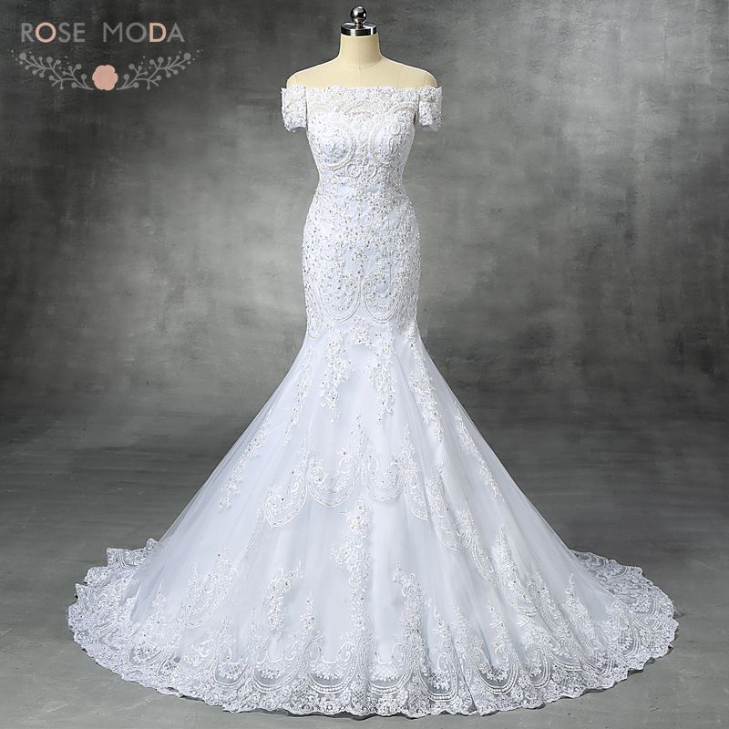Buy real photo off the shoulder beaded for Off the shoulder lace mermaid wedding dress