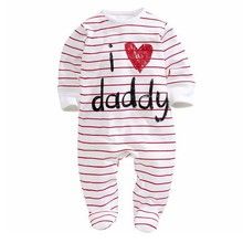 kids baby boy clothes 2017 Winter white Striped long sleeve newborn baby boy girl Romper jumpsuits clothing 0-3 6 9 12 months