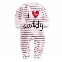 Для маленьких детей Одежда для мальчиков зимние белые в полоску длинные рукава Новорожденные Для мальчиков и девочек ползунки, комбинезоны, Одежда 0-3 6 9 12 месяцев