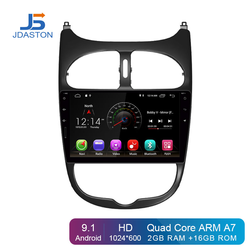 JDASTON Android 9.1 Car DVD Player For <font><b>Peugeot</b></font> <font><b>206</b></font> Multimedia Video WIFI GPS Navigation 1 <font><b>Din</b></font> Car Radio Stereo Steering wheel image