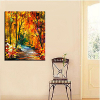 Free Shipping Original Hand Painted Oil Painting Autumn Path Landscape on Canvas Wall Decorative Hang Pictures Crafts Artwork