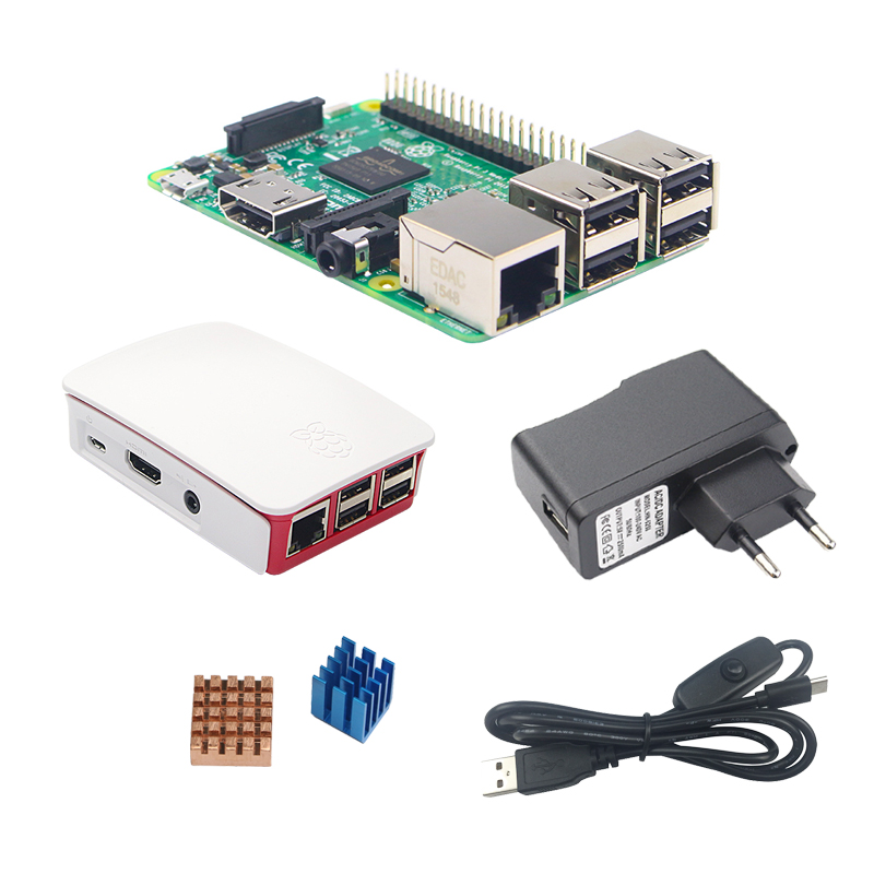 Raspberry Pi 3 Model B Board Kit + Official ABS Case + 2.5A Power Supply + Switch USB Cable + Heat Sink for RPI 3 Pi3 акустика