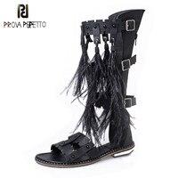 Prova Perfetto на высоком Рим Стиль Перо бахрома женские босоножки пикантные Эластичная лента с перекрестной шнуровкой с украшением в виде пряжки