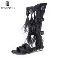 Prova Perfetto Mid High Rome Style Feather Fringe Woman Sandals Sexy Elastic Band Cross tied Buckle Decoration Woman Shoes