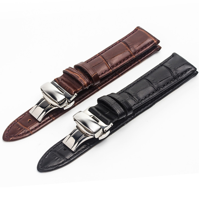 c90834a2fdd ROPS High Quality Leather Men Watch Strap For Tissot Omega IWC 18mm 20mm 22mm  watch accessories
