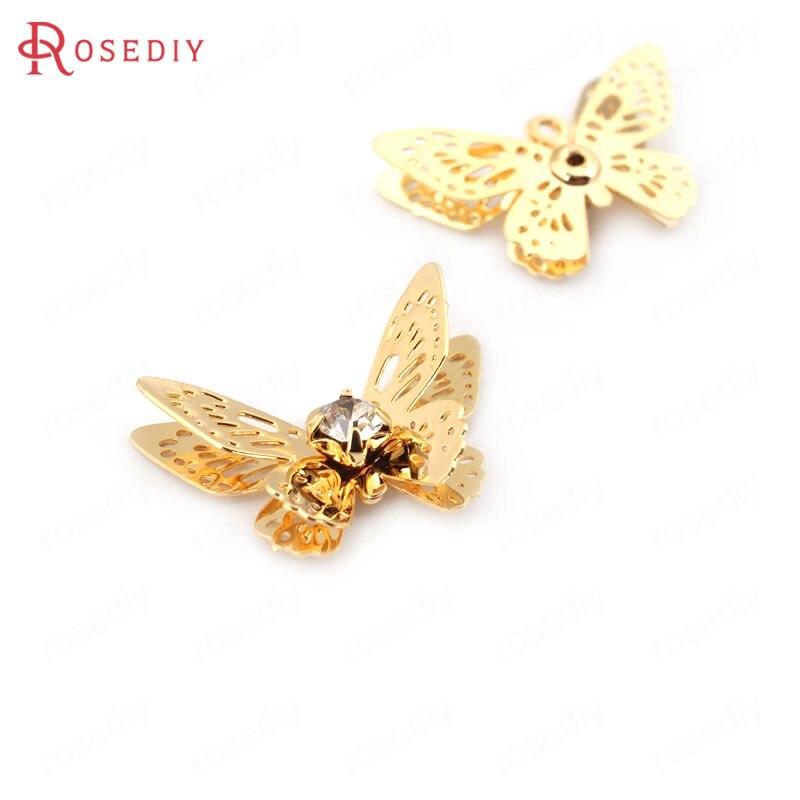 (34057) 10 Pcs 20*13 Mm 24 K Gold Farbe Messing Mit Glas Strass Schmetterling Charms Anhänger Hohe Qualität Diy Schmuck Erkenntnisse