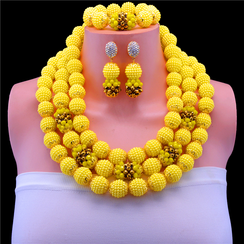 Wonderful African Bridal Jewelry Set Yellow Crystal Beads Necklace Set Nigerian Wedding Party Beads Free Shipping graceful white african bridal beads jewelry set nigerian crystal rhinestone bridesmaid women wedding necklace free ship qw677