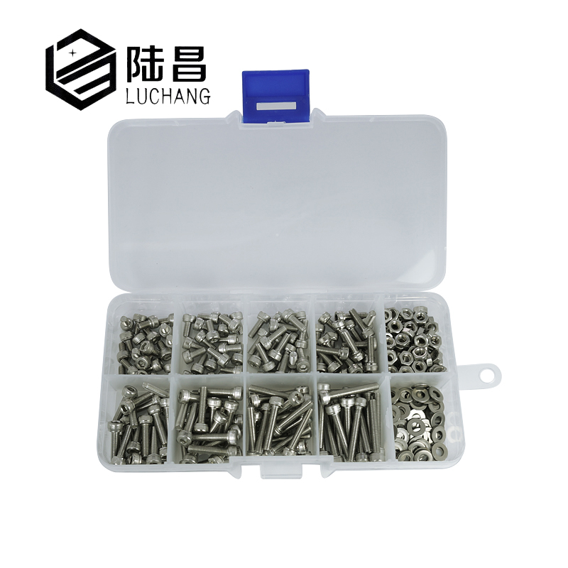 luchang 320pcs/set M2 M2.5 M3 304 Stainless Steel Hexagon Socket Head Cap Screws Bicycle Hex Bolts Nut Screw Set Assortment Kit 180pcs set hex socket head cap screw stainless steel m2 screws bolts nuts fasteners accessories kit m2 4 6 8 10 12 16mm