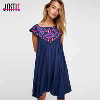 Jastie Flowers Embroidered Mini Dress Loose Casual Beach Dresses Pretty Doll Style Tunic Dress 2018 Summer Women Dresses