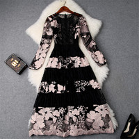 Top Quality Runway Designer Woman Dress 2019 Spring New Fashion Long Sleeve Flower Embroidery Lace Tulle Dress Sexy Party Dress