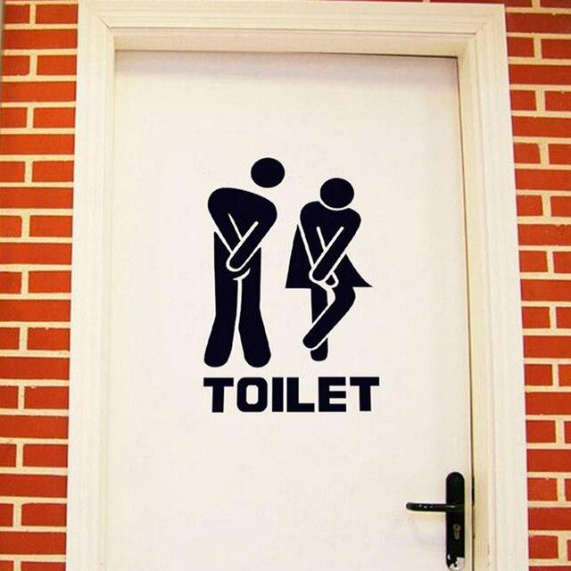 Wall Sticker Creative Toilets Logo Bathroom Decor Toilet Door Men ...