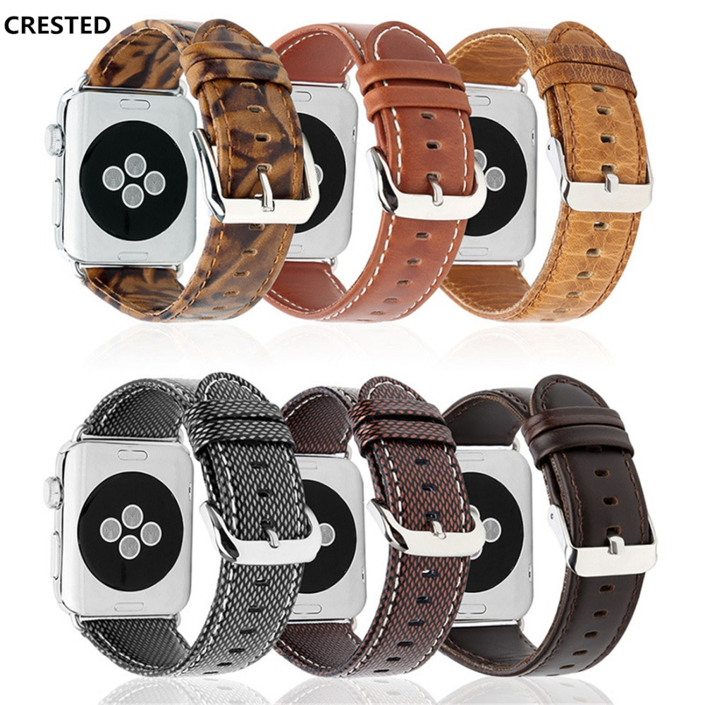 CRESTED Leather Band For Apple Watch series 4 44mm 40mm strap correa iwatch 3 2 1 42mm/38mm Crazy Horse Wrist bracelet belt crested crazy horse strap for apple watch band 42mm 38mm iwatch series 3 2 1 leather straps wrist bands watchband bracelet belt