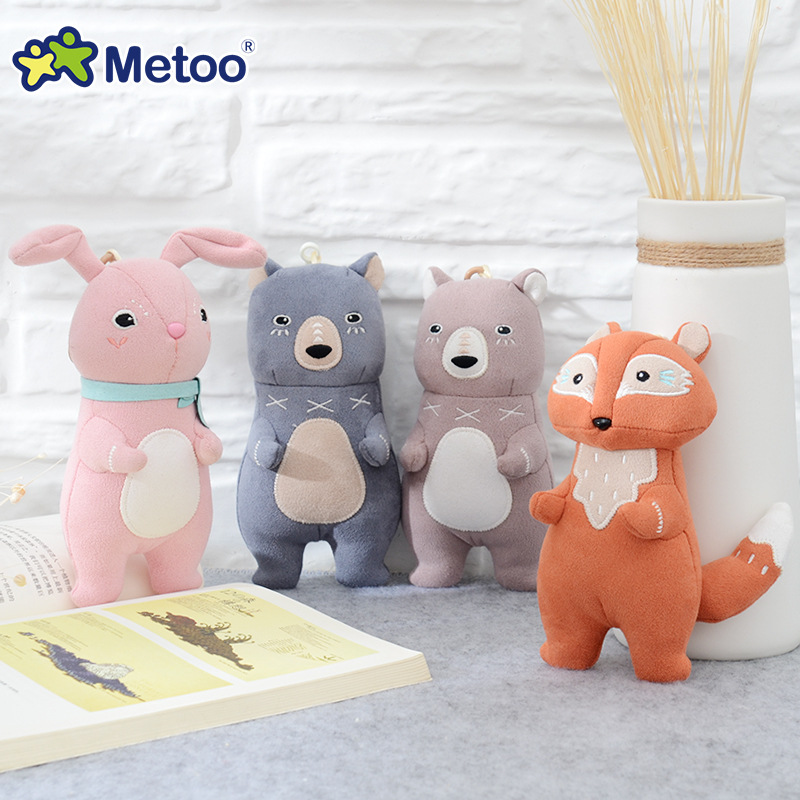 16cm Kawaii Plush Cute Cartoon Stuffed Backpack Pendant Baby Kids Toys for Girls Birthday Christmas Rabbit Bear Fox Metoo Doll little cute flocking doll toys kawaii mini cats decoration toys for girls little exquisite dolls best christmas gifts for girls