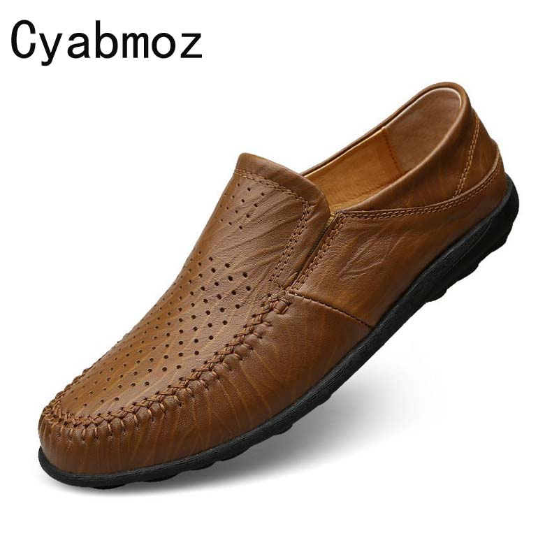Cyabmoz brand 2017 summer casual men loafers genuine leather soft comfortable luxury men shoes flats for daily driving moccasins genuine leather men casual shoes summer loafers breathable soft driving men s handmade chaussure homme net surface party loafers