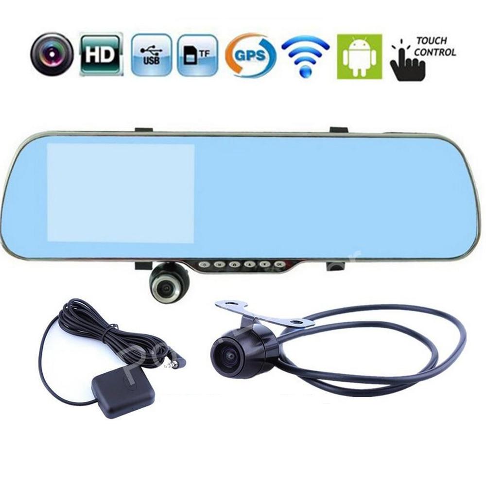 Pour android WIFI GPS navigation 5 pouces rétroviseur voiture spéciale DVR 1080 P Full HD double lentille caméra écran tactile