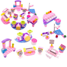 Children Small Particles Spell Inserted Building Blocks Toys Music Girl Assembled Plastic Educational Toy Model Gift Legoing N08 gudi police to track suspect the culprits educational blocks fight inserted building blocks assembled toys