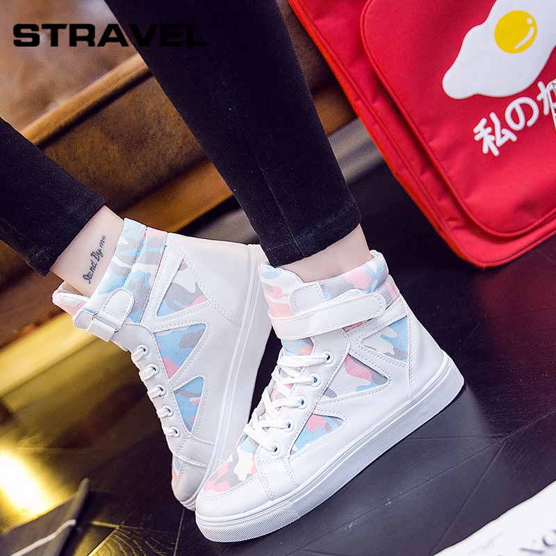 Stravel High Quality Women Canvas Shoes Ladies Flat Women Vulcanized Shoes Women Lace-up Sneakers High Top shoes