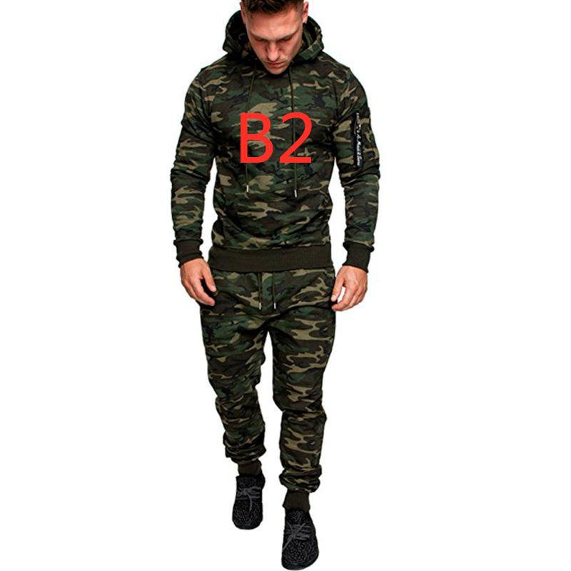 B2 New Camouflage Printed For Men's Set Slim Patchwork Jacket Men 2Pcs Tracksuit Sportswear Hoodies Sweatshirt Pants Jogger Suit
