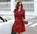 New 2016 Spring Coat Slim Trench Coat For Women Double-breasted women coat Sashes Coat Female Khaki Windbreaker Women