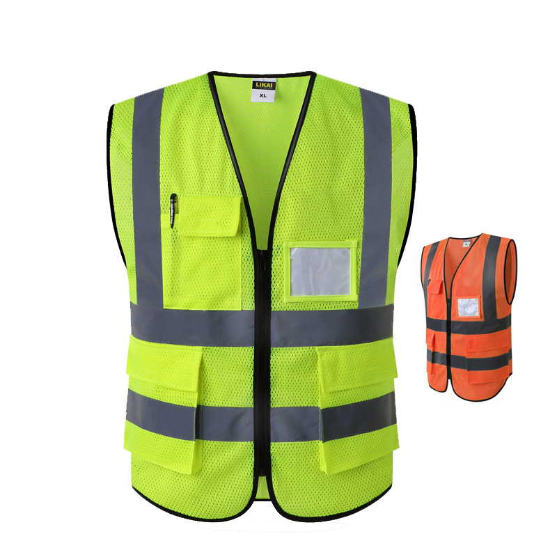 High quality high visibility safety work vests waistcoats fluorescent yellow orange with multi pockets ID pocket chest pocket color block slit side high low tee with chest pocket