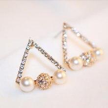 Модные треугольные серьги гвоздики для женщин розовое золото