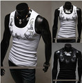 free shipping plus size fashion slim fit  tank top washing men's stringer cotton vest  men undershirt with print