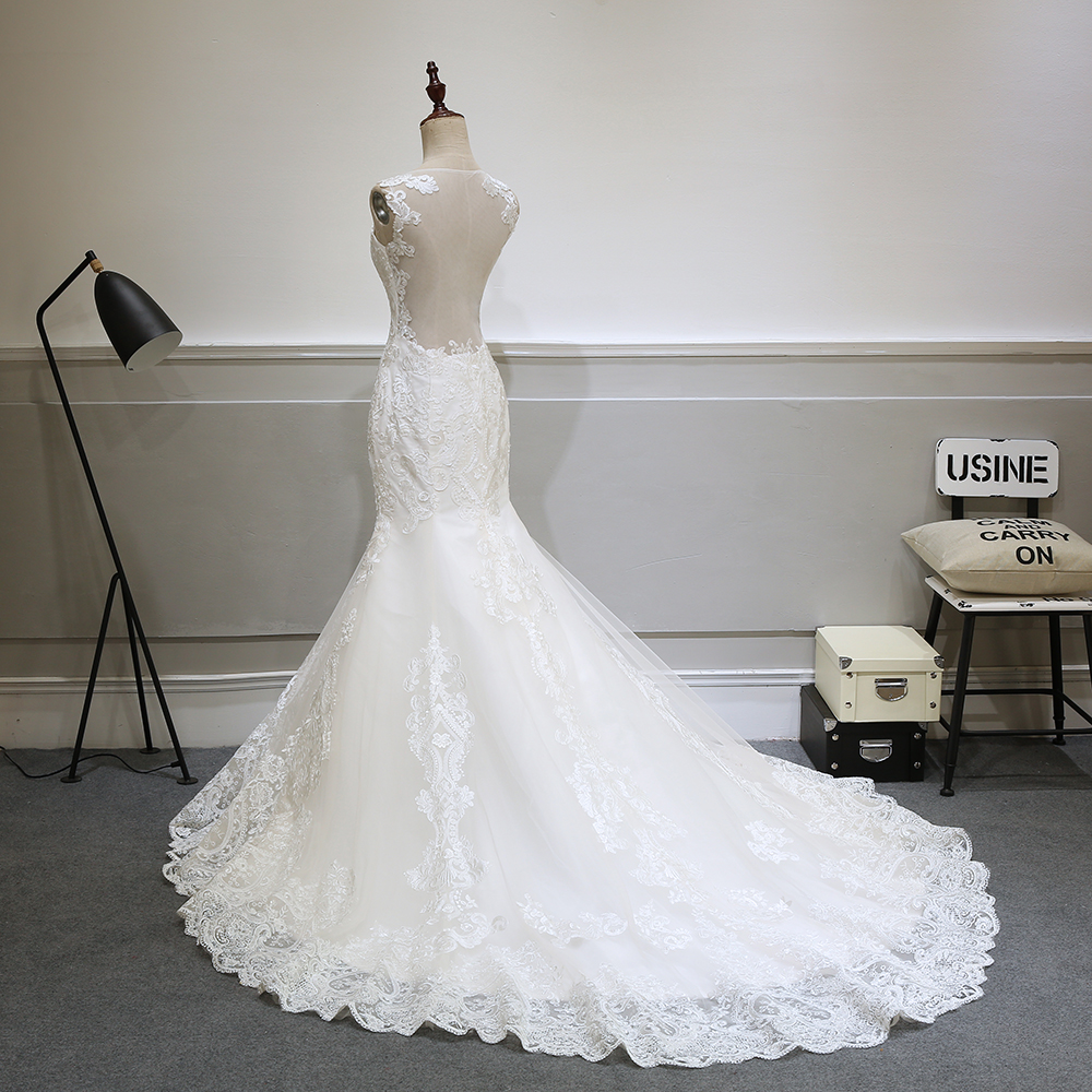 Elegant Lace See Through Backless Vintage Mermaid Wedding Dress