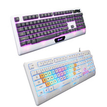 Factory price High Quality USB Wired Illuminated Colorful LED Backlight Multimedia PC Gaming Keyboard Feb27 Drop Shipping