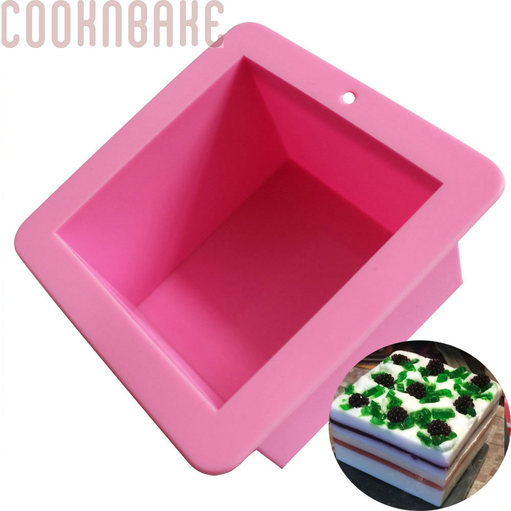 COOKNBAKE DIY Silicone Handmade Soap Mold 500ml Straight Quadrel 9 * 9 * 6.5cm Silicone Bakeware Bread  SSM-001-7