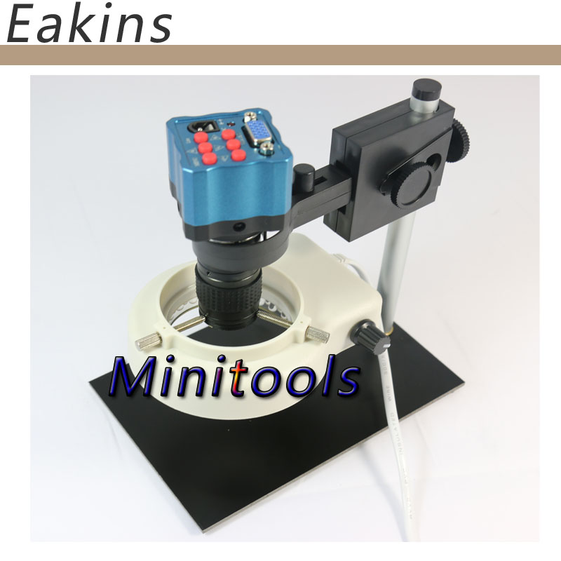 VGA Industry Microscope+mini C-mount lens+Stand+LED light for PCB repair IR Remote Control 1/3 inch 8~130X zoom 1 600x usb digital electronic microscope 8 led vga microscope with 4 3 hd lcd screen stand for cellphone pcb repair