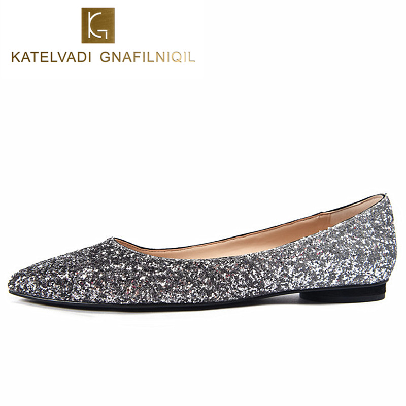 Sequin Glitter Ballet Flat Shoes Women Sliver Pointed Toe Shoes Woman Flats Slip On Ladies Wedding Spring Autumn flats K-091 meotina women flat shoes ankle strap flats pointed toe ballet shoes two piece ladies flats beading causal shoes beige size 34 43